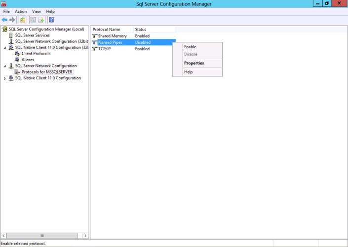 Enabling SQL Server Protocol